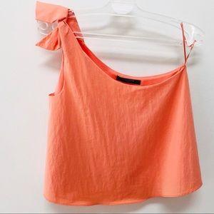 Zara Coral Peach One Shoulder Crop Top Size M